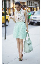aquamarine embroidered asos skirt - white silk Yaelle scarf