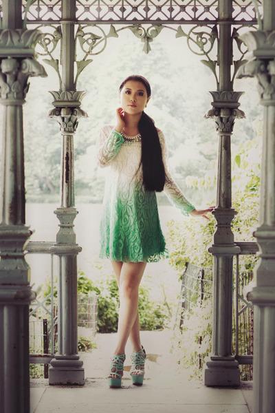 aquamarine LuLus shoes - aquamarine LuLus dress