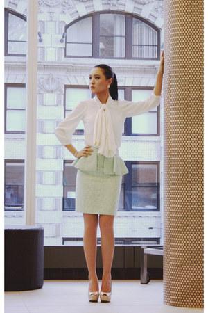 pencil skirt Zara skirt - sheer asos blouse - glossy MYHOTSHOES heels