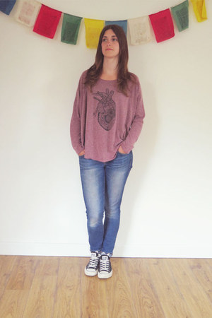 blue Gap jeans - coral RVCA top - black Converse sneakers