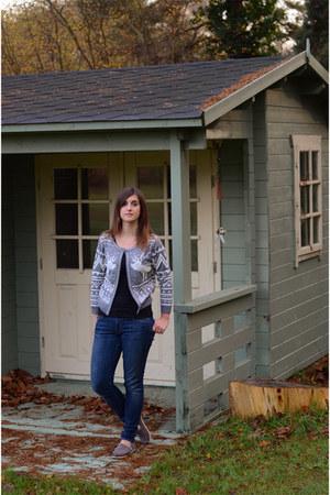 heather gray zalando cardigan - navy mother jeans - black H&M top