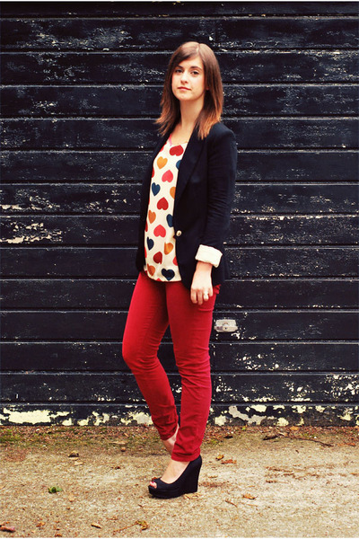 black Zara blazer - brick red skinny twill J Brand jeans