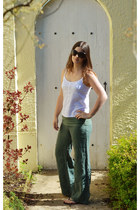 white asos top - army green cotton basics pants - black Havaianas sandals