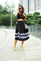 black Topshop skirt - silver macys x karl lagerfeld bag - yellow Choies pumps