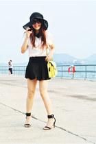 white two tone Spiral girl shirt - Mango heels - American Apparel skirt