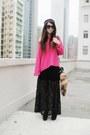 Black-forever-21-dress-hot-pink-monki-sweater