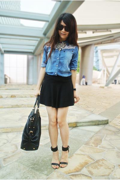 Denim top with skirt – Cool novelties of fashion 2017 photo blog