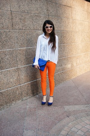 blue Charlotte Russe heels - white sheer Monki shirt - carrot orange pants