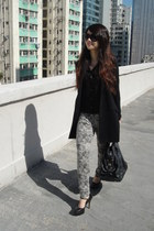 black H&M coat - black sheer Monki shirt - heather gray Zara pants