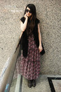 Brown-vintage-boots-bubble-gum-maxi-vintage-dress