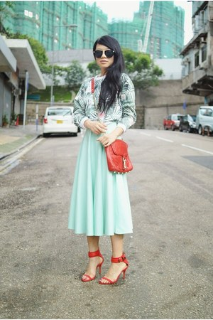 aquamarine full skirt mint asos skirt - aquamarine palm print Topshop sweatshirt