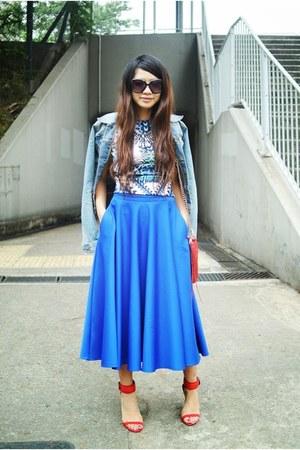 blue wore as top asos dress - blue asos skirt