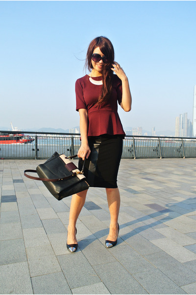 brick red peplum H&M top - black Marc by Marc Jacobs bag