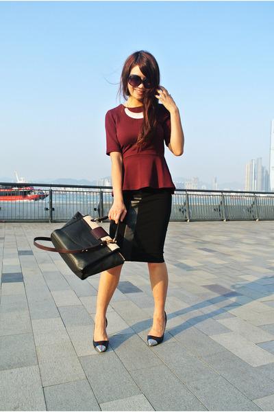 brick red peplum H&M top - black Marc by Marc Jacobs bag