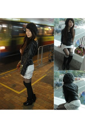 lace Thrift Store dress - oxford Zara shoes - H&M hat - stud leather Zara jacket