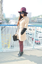 brick red H&M hat - black Zara boots - brick red H&M pants