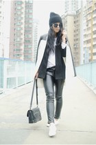black Zara coat - ivory River Island sneakers