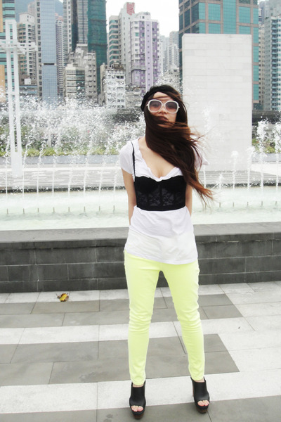 yellow neon Zara pants - black bralet Forever 21 top