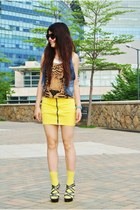 yellow H&M skirt - mustard Heritage top - blue H&M vest