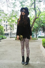 H-m-sweater-zara-boots-betsey-johnson-bag-h-m-necklace-leopard-h-m-pants