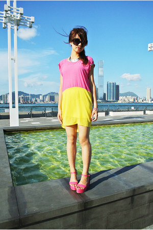 hot pink River Island necklace - color block imiko dress