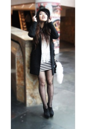 black moussy boots - black H&M coat - black Forever 21 hat - white thrift top