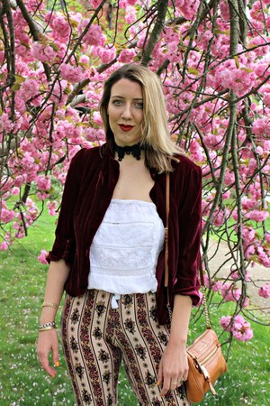 maroon rayon Novella Royale leggings - maroon velvet Loft blazer