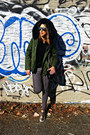 Charcoal-gray-denim-american-apparel-jeans-olive-green-cotton-zara-jacket