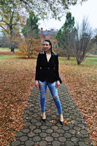 black H&M blazer - blue american eagle outfitters jeans - black Zara bag