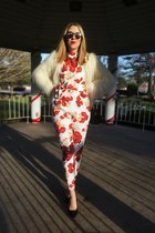 red jumpsuit free people bodysuit - white faux fur Topshop jacket