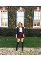 leather Vince Camuto boots - wool Urban Outfitters blazer - dvf bag