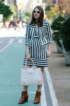 stripe Nanette Lepore dress - stripe Nanette Lepore jacket - Danielle Nicole bag