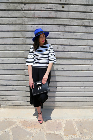 black Fendi purse - blue Uterque hat - black stuart weitzman pumps