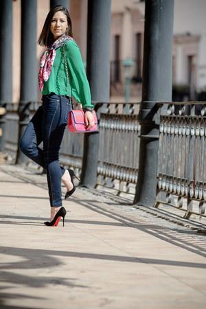 hot pink Hermes scarf - bubble gum dior bag - black heels - green Zara blouse