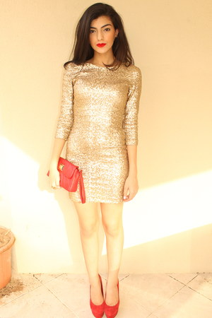 square Accessorize earrings - sequined asos dress - leather Charles & Keith bag
