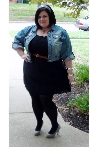 denim jacket - black dress - black tights - brown belt - heather gray pumps