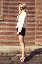 black Zara heels - eggshell Zara blazer - black H&M shorts - silver H&M top