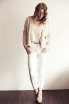 neutral silk Zara blazer - white high waisted H&amp;M jeans - nude knitted H&amp;M top