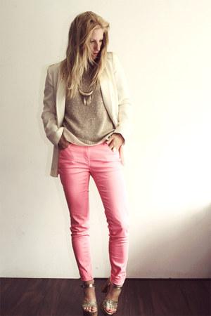 gold cafe moda heels - bubble gum H&M jeans - eggshell Zara blazer