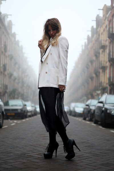 off white woolen Zara blazer - black transparent H&M dress - beige Zara blouse
