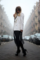 off white woolen Zara blazer - black transparent H&M dress - beige Zara blouse