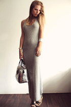 silver Nahui Ollin bag - heather gray asos dress - black Guess wedges