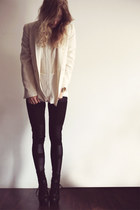 beige Zara blazer - black romwe leggings - eggshell Nowhere blouse