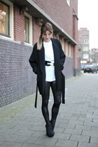 black transparent romwe leggings - black kimono Zara jacket - white H&M shirt