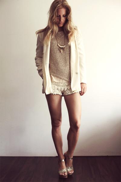 eggshell Zara blazer - ivory Zara shorts - tan Zara jumper