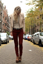 dark brown brown Zara heels - beige beige H&M blazer