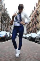 white H&M coat - navy striped COS shirt - dark brown H&M bag - white Nelly heels