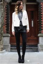 eggshell silk Zara blazer - gray printed Zara blouse - black leather H&M skirt