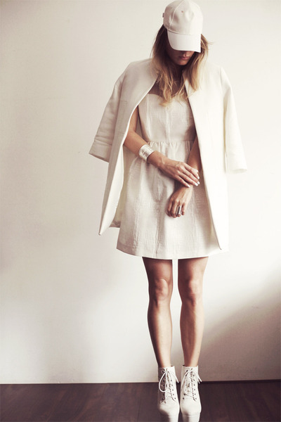 white Nelly heels - off white Zara dress - eggshell Zara coat