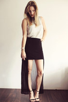 black naked Zara heels - black Zara skirt - silver H&amp;M Trend top